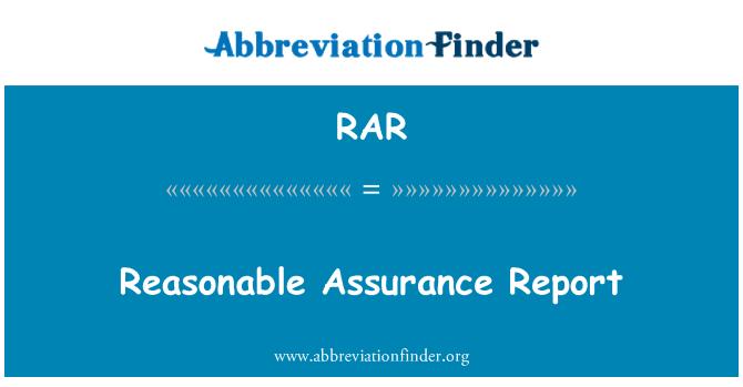 RAR: Reasonable Assurance Report