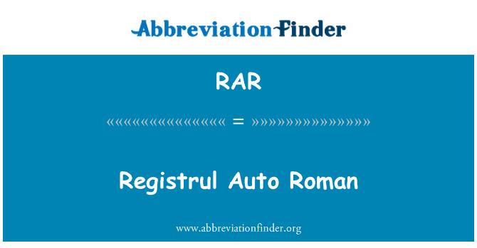 RAR: Registrul Auto Roman