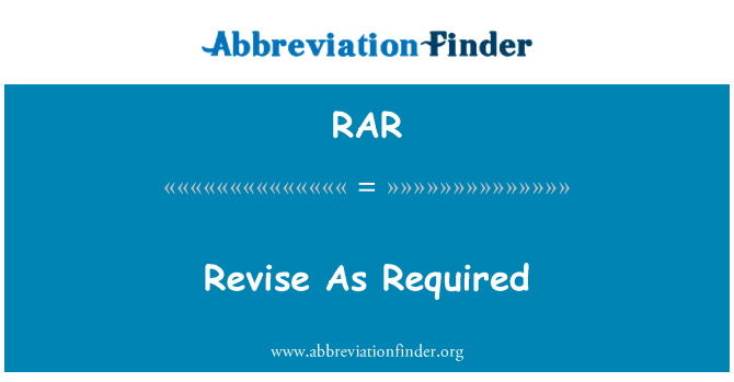 RAR: Revise As Required