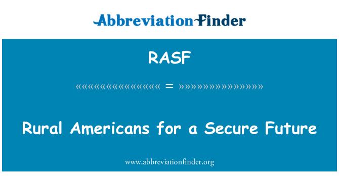 RASF: Norteamericanos rurales para un futuro seguro