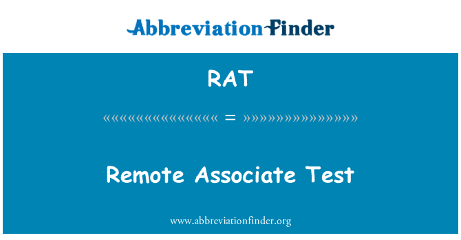RAT: Remote Associate Test