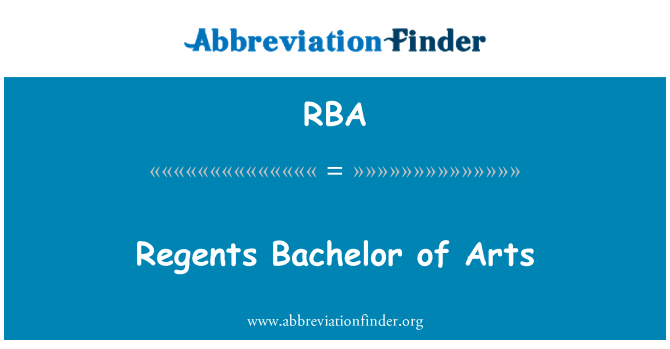 RBA: Regents Bachelor of Arts