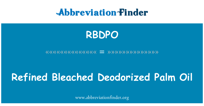 RBDPO: Refined Bleached Deodorized Palm Oil