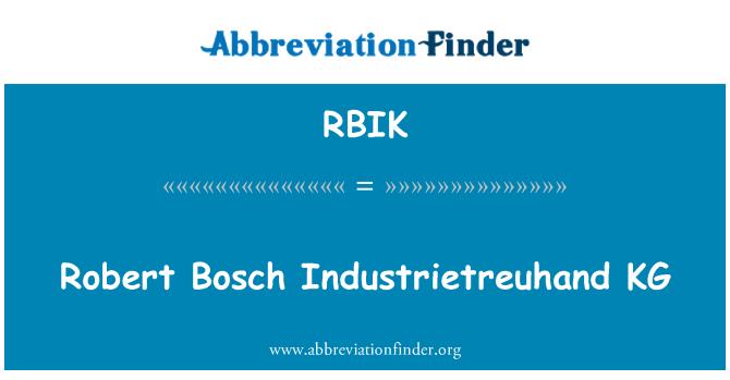 RBIK: Robert Bosch Industrietreuhand KG