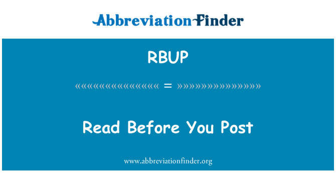 RBUP: Read Before You Post