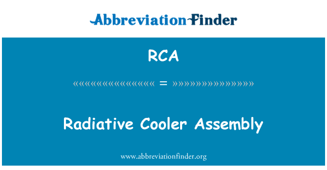 RCA: Radiative Cooler Assembly