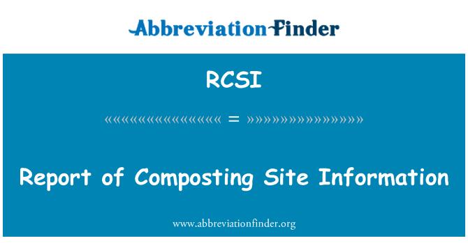 RCSI: Informe de la información del sitio de compostaje
