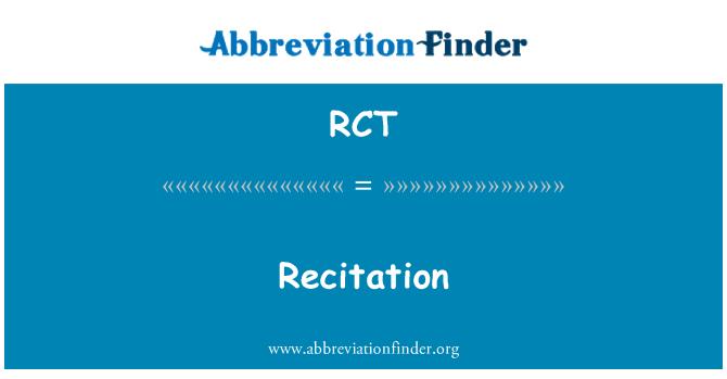 RCT: Recitation