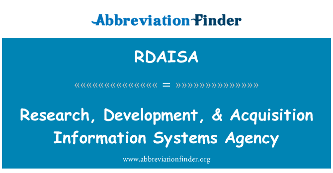 RDAISA: Research, Development, & Acquisition Information Systems Agency