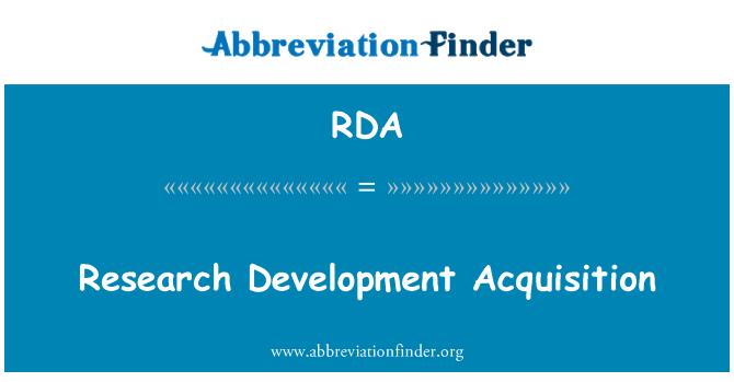 RDA: Pengambilalihan pembangunan penyelidikan