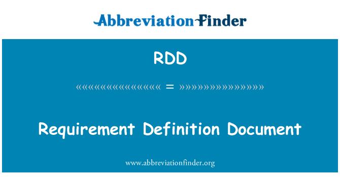 RDD: Requirement Definition Document