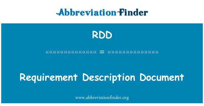 RDD: Requirement Description Document