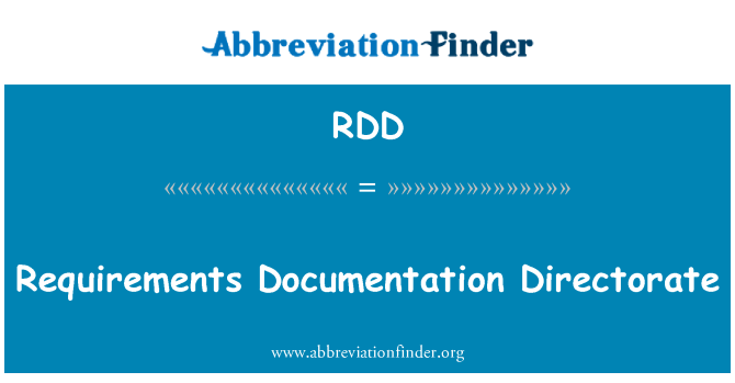 RDD: Requirements Documentation Directorate