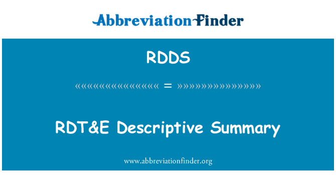 RDDS: Resumen descriptivo RDT & E