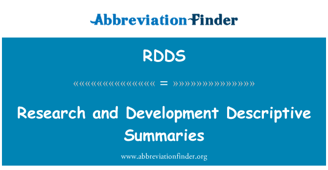 RDDS: Research and Development Descriptive Summaries