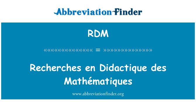 RDM: Recherches en Didactique des Mathématiques