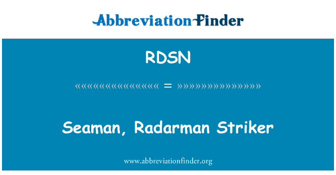 RDSN: Seaman, Radarman Striker