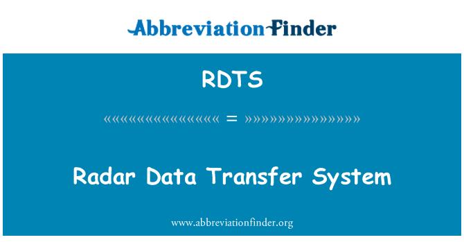 RDTS: Radar Data Transfer System