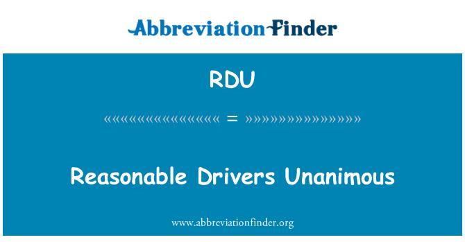 RDU: Reasonable Drivers Unanimous