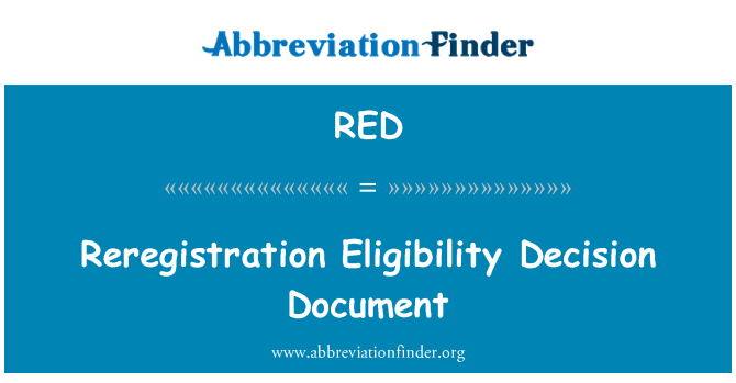 RED: Reregistration Eligibility Decision Document
