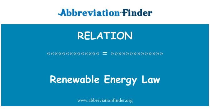 RELATION: Ley de energías renovables