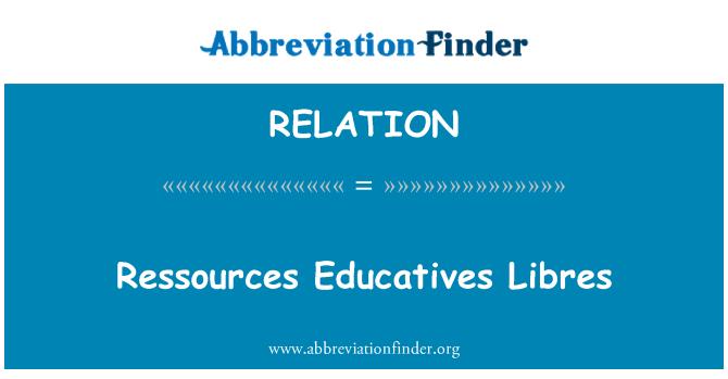 RELATION: Ressources Educatives Libres