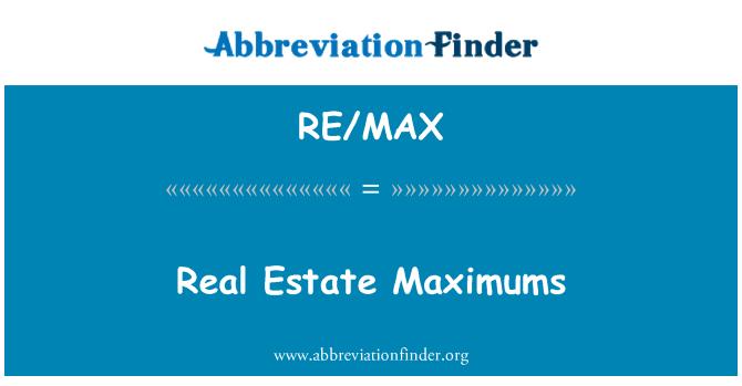 RE/MAX: Real Estate Maximums