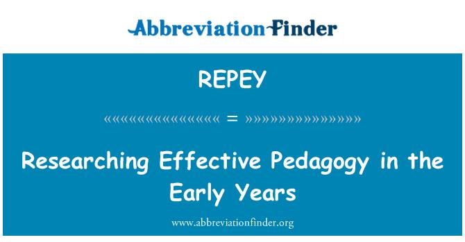 REPEY: Investigación pedagogía eficaz en los primeros años