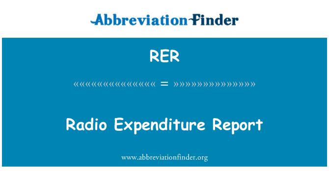 RER: Radio Expenditure Report