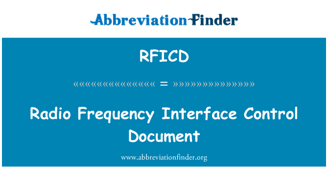 RFICD: Radio Frequency Interface Control Document