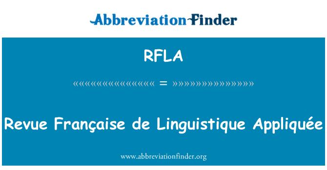 RFLA: Revue Française de Linguistique Appliquée
