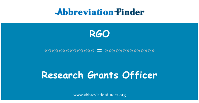 RGO: Research Grants Officer