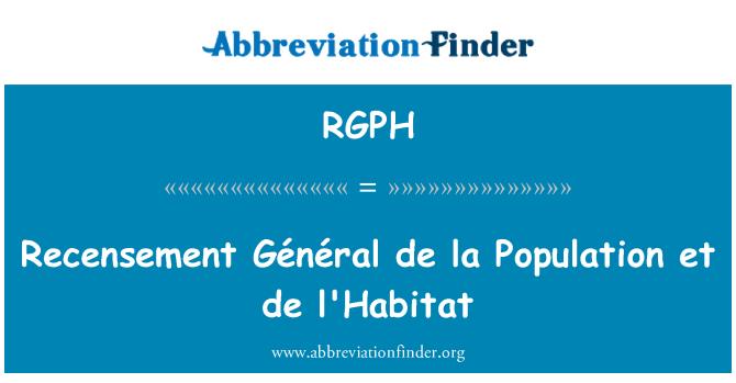 RGPH: Recensement Général de la Population et de l'Habitat