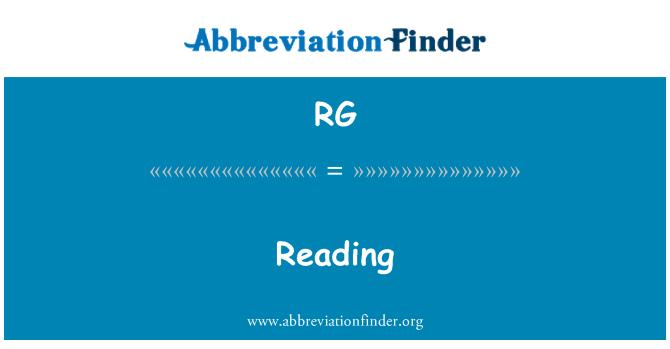 RG: Reading