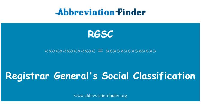 RGSC: Registrar General's Social Classification