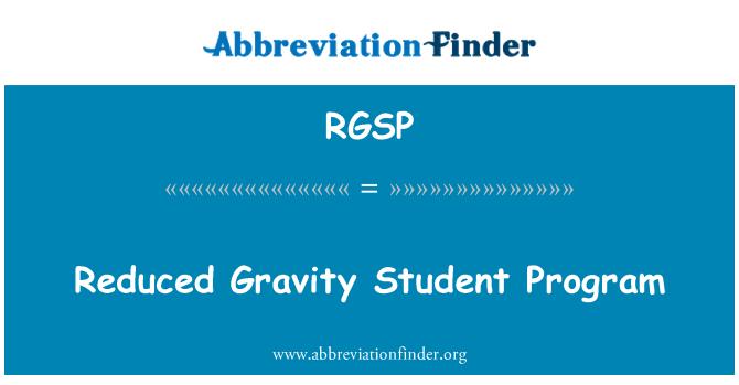 RGSP: Reduced Gravity Student Program