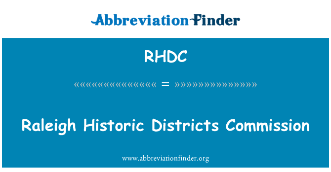 RHDC: Raleigh Historic Districts Commission