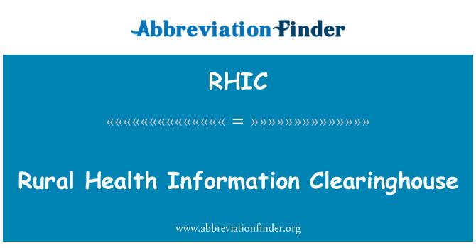 RHIC: Kırsal sağlık bilgi Clearinghouse