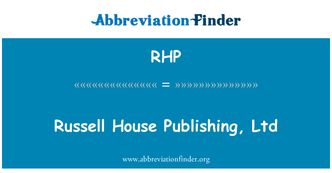 RHP: Russell House Publishing, Ltd