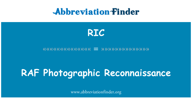 RIC: RAF Photographic Reconnaissance