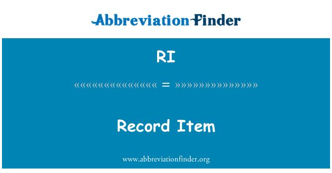 RI: Record Item