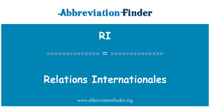 RI: Relations Internationales