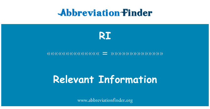 RI: Relevant Information