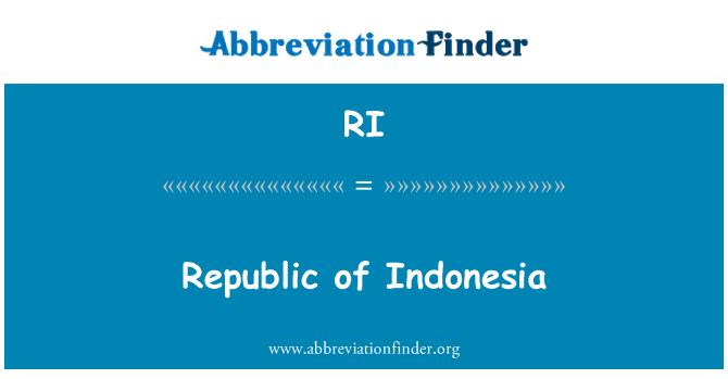 RI: Republic of Indonesia