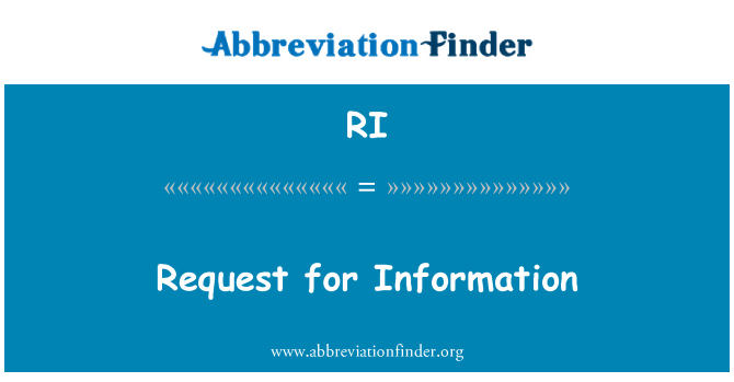 RI: Request for Information