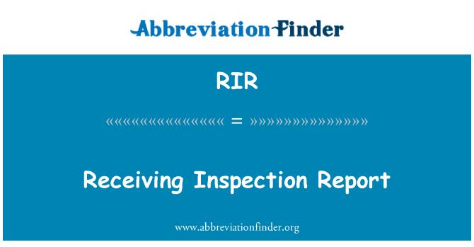 RIR: Receiving Inspection Report
