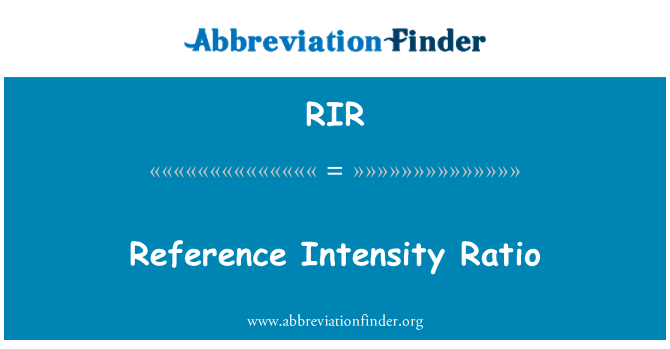 RIR: Reference Intensity Ratio