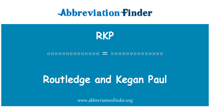 RKP: Routledge and Kegan Paul