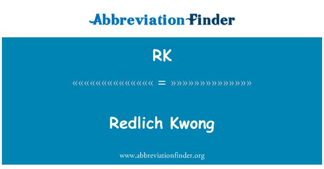 RK: Redlich Kwong