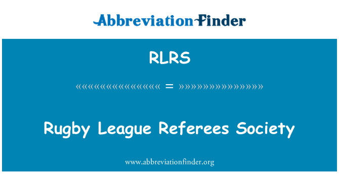 RLRS: Rugby League Referees Society